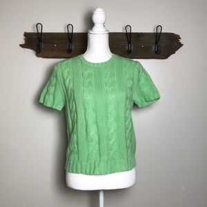 Cashmere Cable Sweater Short Sleeve Light Green